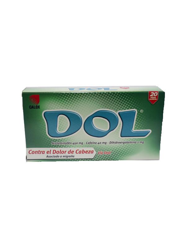Dol Acetaminofen, Cafeína y Dihidroergotamina 450 40 1 mg Calox 20 pastillas