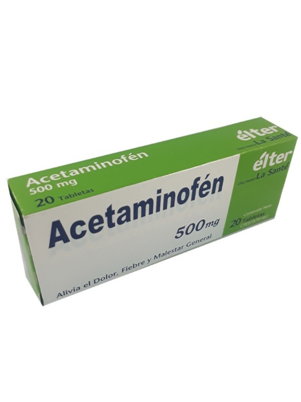 Acetaminofén 500 mg Élter 20 pastillas